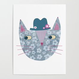 Flowery Cat in a Flowery Hat Poster