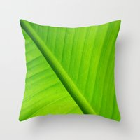 banana leaf Throw Pillows featuring Upclose Banana Leaf by Erin Mac Photography