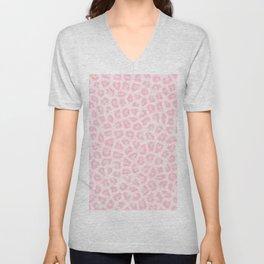 Girly blush pink white abstract animal print Unisex V-Neck