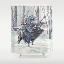 Wizard Riding an Elk in the Snow Shower Curtain