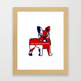 Keep Calm and Go Walkies French Bulldog Framed Art Print