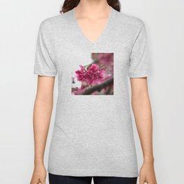 Droplets on Dark Pink Crabapple Blossoms Unisex V-Neck