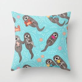 Otters Playing Aquamarine Throw Pillow