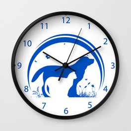 Dog and Cat and nature Silhouette Wall Clock