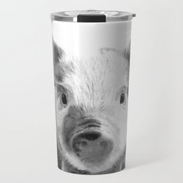 Black and white pig portrait Travel Mug