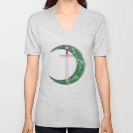 Green Celtic Moon Unisex V-Neck