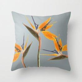 Strelizia - Bird of Paradise Flowers Throw Pillow