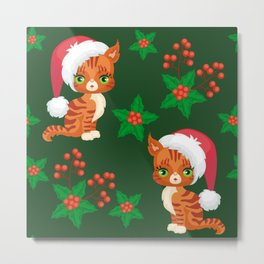 Cute Christmas Kittens With PURRFECT Eyelash Extensions Metal Print