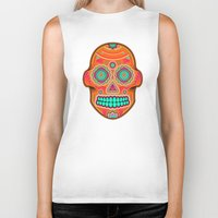 sugar skull Biker Tanks featuring Sugar Skull by Good Sense