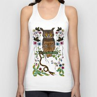 andreas preis Tank Tops featuring Vibrant Jungle Owl and Snake by famenxt