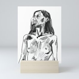 Pencil Portrait of a Bangkokian Woman Mini Art Print