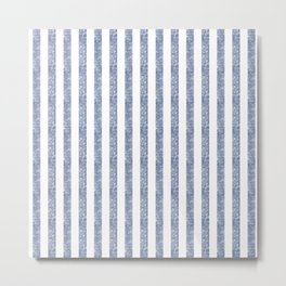 Maritime Beach Pattern- Blue and White Stripes- Vertical - Metal Print