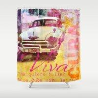 cuba Shower Curtains featuring Viva Cuba by LebensART