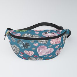Heart Diamonds are Forever Love Blue Fanny Pack