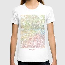 London Watercolor Map Art by Zouzounio Art T-shirt