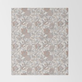 Pale Winter Hues Pomegranate Fruit Branches with Leaves Throw Blanket