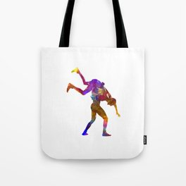 Wrestlers wrestling men 03 in watercolor Tote Bag