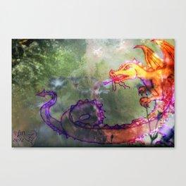 Garden of the Hesperides, digital art with fierce dragon Canvas Print