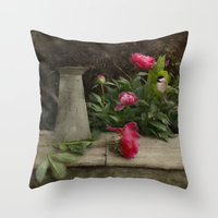 peony Throw Pillows featuring Peony by  Robin-Lee