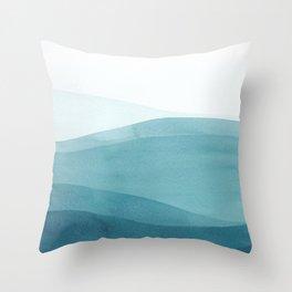 Watercolor Sea   Dip Dye Blues Throw Pillow