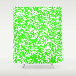 Small Spots - White and Neon Green Shower Curtain