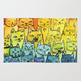 the pride cat rainbow  squad Rug