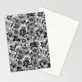 Hellebore lineart florals Stationery Cards