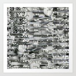 Atomic Bokeh (P/D3 Glitch Collage Studies) Art Print