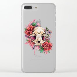 Neo Traditional Cat Skull and Roses Clear iPhone Case