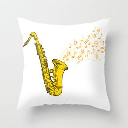 Saxophone Saxophonist Instrument Marching Band Throw Pillow
