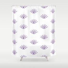 Purple Evil Eye Pattern Shower Curtain