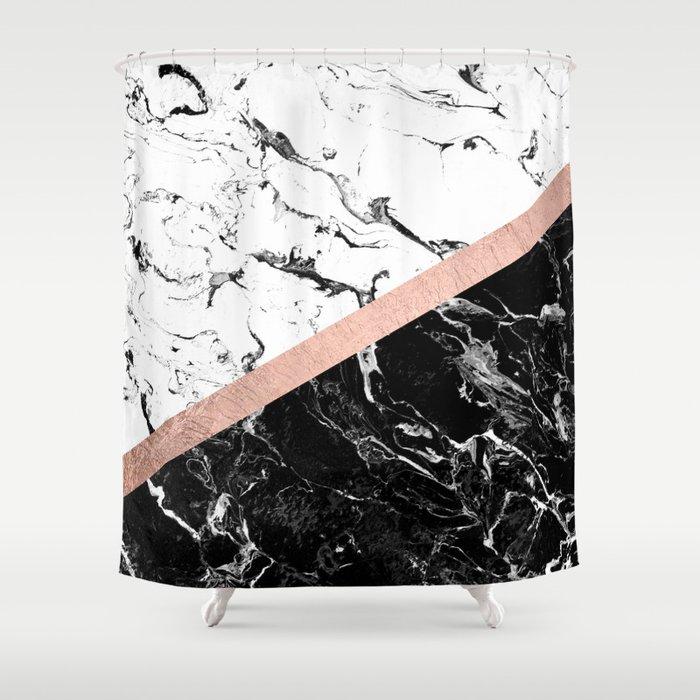 Modern Black White Marble Color Block Rose Gold Shower Curtain