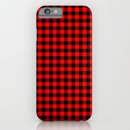 Mini Red and Black Coutry Buffalo Plaid Check iPhone Case