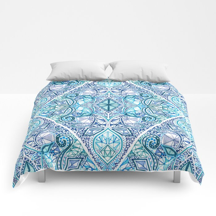 Blue and Teal Diamond Doodle Pattern Comforters
