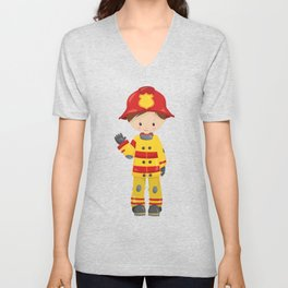 Boy Fireman, Firefighter, Brown Hair, Little Boy Unisex V-Neck