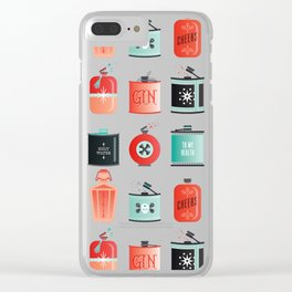 Flask Collection – Red & Turquoise Palette Clear iPhone Case