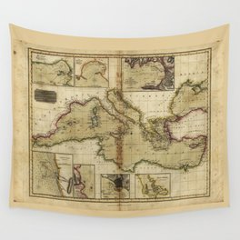 Chart of the Mediterranean Sea (1817) Wall Tapestry