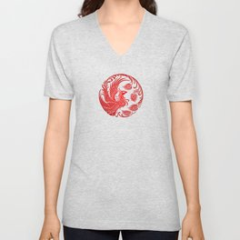 Traditional Red and Black Chinese Phoenix Circle Unisex V-Neck