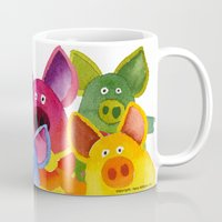 pigs Mugs featuring Fun Pigs by Hans Wilhelm