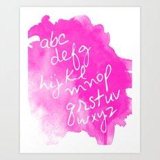 Magenta Watercolor Alphabet Art Print