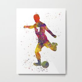 Soccer player isolated 03 in watercolor Metal Print