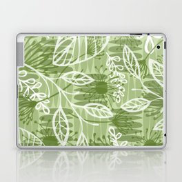 Abstract Floral Jungle Pattern with Flowers Leaves and Stripes in Green Laptop & iPad Skin