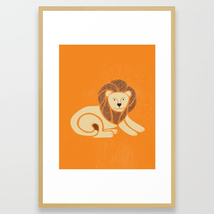 L is for Lion (Text free) Framed Art Print