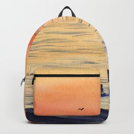 Calming Sunset Surf-Art Watercolor Painting Backpack