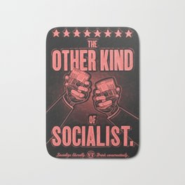 "Vintage ""The Other Kind of Socialist"" Alcoholic Lithograph Advertisement in red Bath Mat"