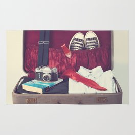 Vintage Journey Suitcase (His) (Retro and Vintage Still Life Photography) Rug