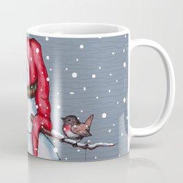 Snowman With Scarf & Hat, Falling Snow, Christmas, Birdie Coffee Mug
