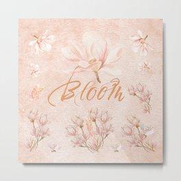 Flower Blooms in Watercolor Metal Print