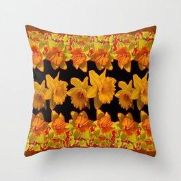 GOLDEN DAFFODILS GARDEN  COFFEE BROWN-BLACK ART Throw Pillow