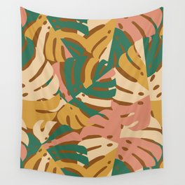 Monstera Leaves - Gold - Green - Pink Wall Tapestry